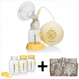 Medela - Swing Breastpump with Breastmilk Storage Bottle 150ml (3pcs) & Okiedog Pack A Bag Clutch Diaper Bag