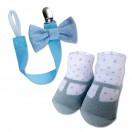 Bumble Bee - Baby Pacifier Clips with Socks Set *Polka Blue*