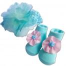 Bumble Bee - Baby Headband with Socks Set *Sea Blue*