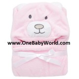 Adorable - Soft Hooded Bath Blanket *Pink Bear*