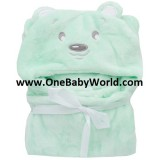 Adorable - Soft Hooded Bath Blanket *Green Bear*