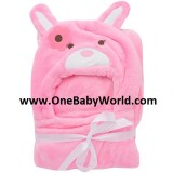 Adorable - Soft Hooded Bath Blanket *Pink Rabbit*