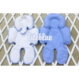 * CuddleMe - Head & Body Support Seat Pad *WHITE / LITE BLUE*