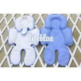 * CuddleMe - Head & Body Support Seat Pad *WHITE / LITE BLUE*