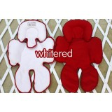 * CuddleMe - Head & Body Support Seat Pad *WHITE / RED*