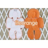 * CuddleMe - Head & Body Support Seat Pad *WHITE / LITE ORANGE*