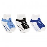 Luvable Friends - Shoe Socks Non-skid 3pk *23117L* (Boy) 12-24M