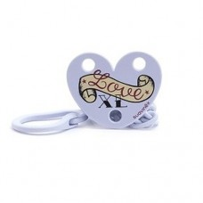 "Suavinex - ""LOVE CLIP"" CHAIN WITH CLIP Pacifier Soother Dummie +0M *Blue* Design A"