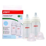 Pigeon - Wide Neck PP Nursing Bottle with Peristaltic Nipple (BPA-Free) *240ml/8oz* TWIN PACK