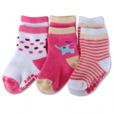 Bumble Bee - Girl Pink Elephant 3 Pair Socks