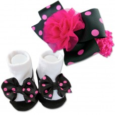 Bumble Bee - Baby Headband with Socks Set *Polka Black*