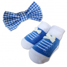 Bumble Bee - Baby Bow Tie with Socks Set *Blue Checkered*
