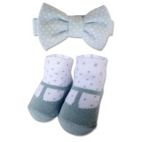 Bumble Bee - Baby Bow Tie with Socks Set *Polka Blue*