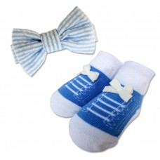 Bumble Bee - Baby Bow Tie with Socks Set *Sky Blue*
