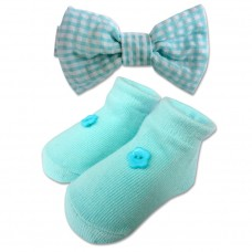 Bumble Bee - Baby Bow Tie with Socks Set *Teal*