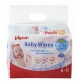 Pigeon - Baby Wipes Water Base 82's (6in1) *BEST BUY*