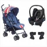 EasyWalker - Mini Buggy Stroller + Maxi Cosi Carrier Travel System *Vintage Union Jack* LIMITED EDITION