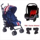 EasyWalker - Mini Buggy Stroller + Babyace Infant Carrier Travel System *Union Jack 2016*