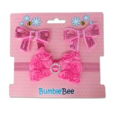 Bumble Bee - Headband & Hair Clip Set *Fuschia* XLA0039