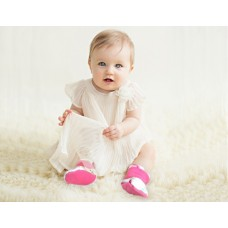 * CuddleMe - Fitted Baby Booties *CHECK RED*