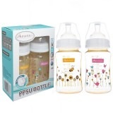 Autumnz - PPSU Wide Neck Feeding Bottle 8oz/240ml (Twin Pack) *Honey Bee / Dandelion*