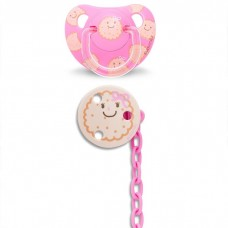 Suavinex - Anat. Soother +6m Silic And Soother Chain *Pink Biscuit* BEST BUY