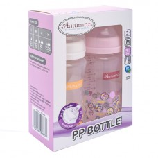 Autumnz - PP Wide Neck Feeding Bottle 8oz/240ml (Twin Pack) *Jovial Giraffe / Abstract*