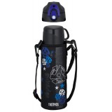 Thermos - Stainless Steel Dual Stopper Bottle w Pouch 0.8L (Black/Blue) *FFR-801WF*