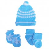 Baby Giftland - Knit Hat, Mittens & Booties Set (Blue)