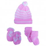 Baby Giftland - Knit Hat, Mittens & Booties Set (Pink)