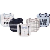 Little Treasure - Interlock & Terry Drooler Bib 5pk (Dapper Dude)