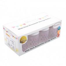 Autumnz - Wide Neck Breastmilk Storage 8 Bottles (5oz) WHITE CAP *Lil Pink/Grey Dots*