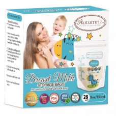 Autumnz -Double Zip Lock Breastmilk Storage Bag (28 bags) *5oz* (ZEBRA)
