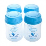 Autumnz - Wide Neck Breastmilk Storage 4 Bottles (5oz) BLUE CAP *Jumbo Whales*