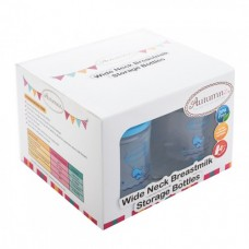Autumnz - Wide Neck Breastmilk Storage 4 Bottles (5oz) BLUE CAP *Jumbo Whales*