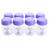 Autumnz - Wide Neck Breastmilk Storage 8 Bottles (5oz) LILAC CAP *Giraffe - Lilac*