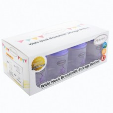 Autumnz - Wide Neck Breastmilk Storage 8 Bottles (5oz) LILAC CAP *Giraffe - Lilac*