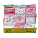 Bumble Bee - Girls Flower Socks (6 Pair Pack)