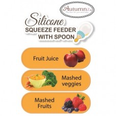 Autumnz - Silicone Squeeze Feeder With Spoon *Wide Neck 180ml* (Blue)