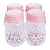 Autumnz - Wide Neck Breastmilk Storage Bottles *7oz* (4 btls) Lil Pink/Grey Dots (PINK Cap)