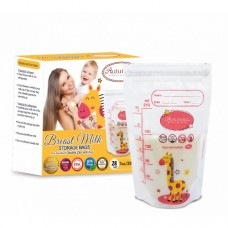 Autumnz -Double Zip Lock Breastmilk Storage Bag (28 bags) *7oz* (GIRAFFE)