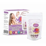 Autumnz -Double Zip Lock Breastmilk Storage Bag (28 bags) *3.5oz* (ELLIE ELEPHANT)