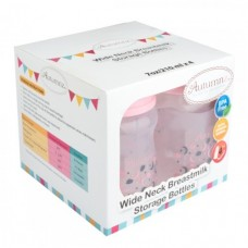Autumnz - Wide Neck Breastmilk Storage Bottles *7oz* (4 btls) Lullaby Melon Pink (PINK Cap)