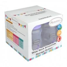 Autumnz - Wide Neck Breastmilk Storage Bottles *7oz* (4 btls) Giraffe *Lilac* (LILAC CAP)