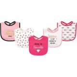 Hudson Baby - Interlock & Terry Drooler Bib 5pk (Born to Sparkle) *51024*