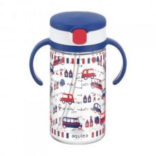 Richell - AQULEA Clear Straw Bottle Mug R 320 *Navy Blue*