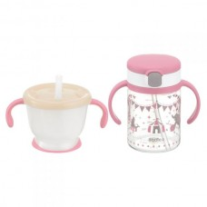 Richell - AQULEA Clear Straw Bottle Mug Set *Pink*
