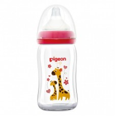 Pigeon - Wide Neck GLASS Nursing Bottle 160ml - Giraffe