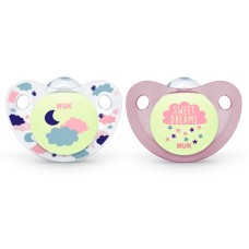 NUK - Orthodontic Night & Day Glow In The Dark Silicone Soother (6-18M) *2pcs*
