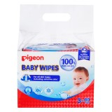 Pigeon - Baby Wipes 100% Pure Water 80's (3in1) *BEST BUY